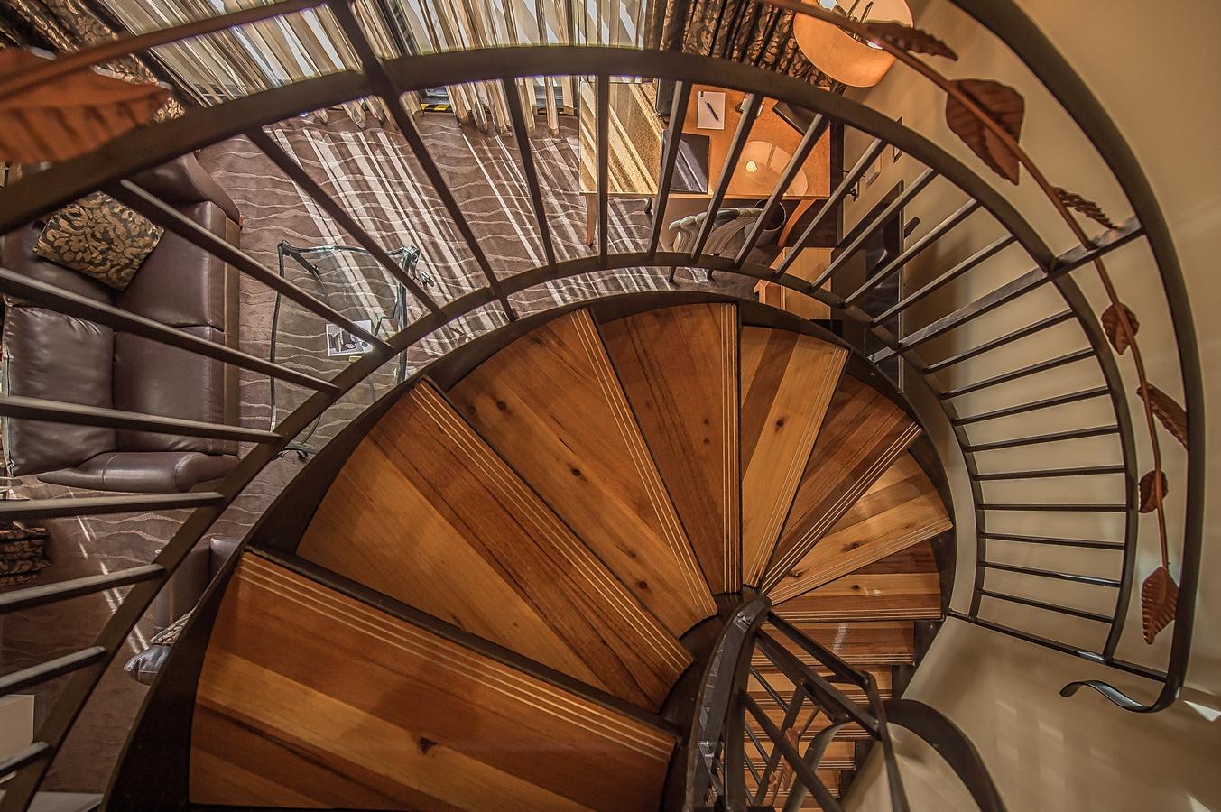 Top view of a brown color iron circular staircase