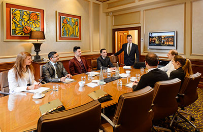 Boardroom meeting at the Playford Hotel