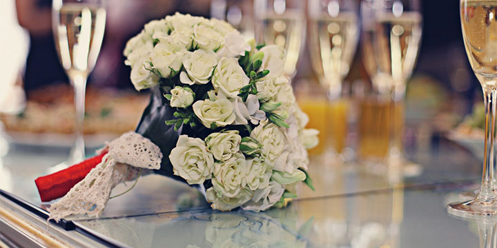 a wedding bouquet on a table at The Playford