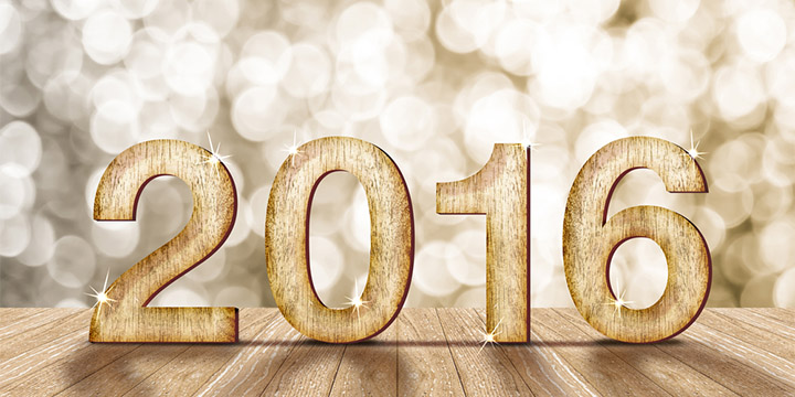 2016 year wood number with sparkling background