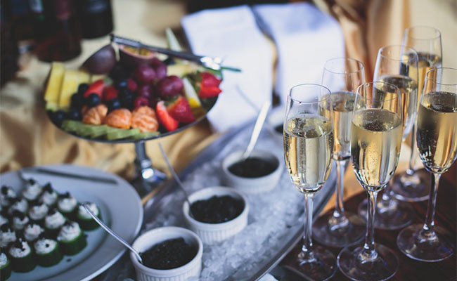 food and champagne for a festive celebration