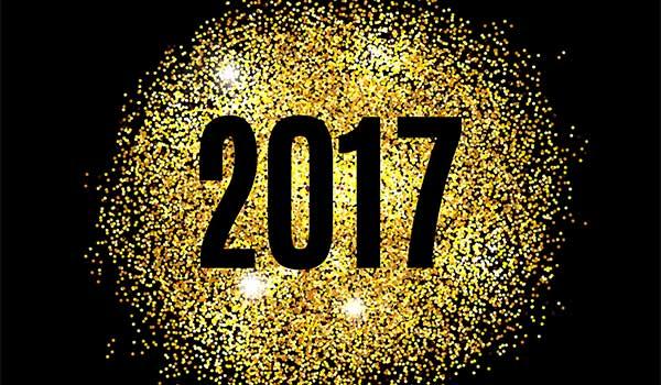 Black 2017 in gold glitter blackground