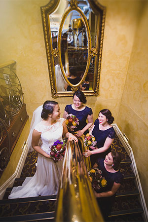 Bride and bridesmaids at The Playford Hotel in Adelaide